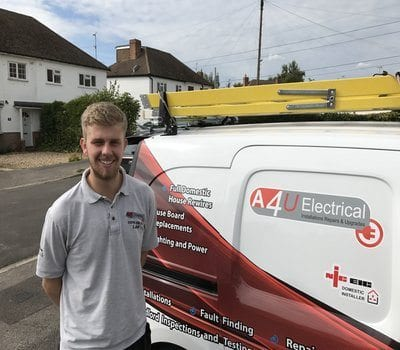 Luke Marsh in front of Aerials 4U van