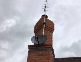 Rooftop Sky Satellite Dish and TV Aerial