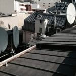 Rooftop Sky Satellite Dishes